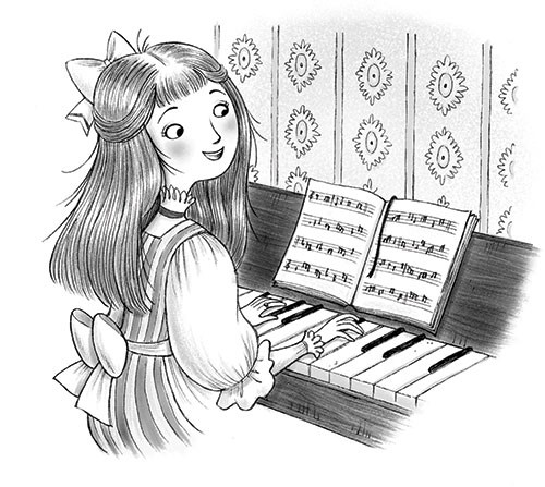Roberta Tedeschi Illustration - roberta tedeschi, roberta, tedeschi, digital, photoshop, illustrator, educational, fiction, YA, young reader, black and white, b&w, black & white, little women, characters, girls, young, girly, piano, music, playing, ribbon, bows, wallpaper