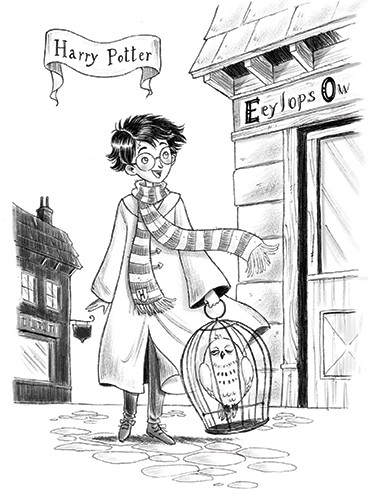 Roberta Tedeschi Illustration - roberta tedeschi, roberta, tedeschi, digital, photoshop, illustrator, educational, fiction, YA, young reader, black and white, b+w, harry potter, character, owl, pet, animal, magic