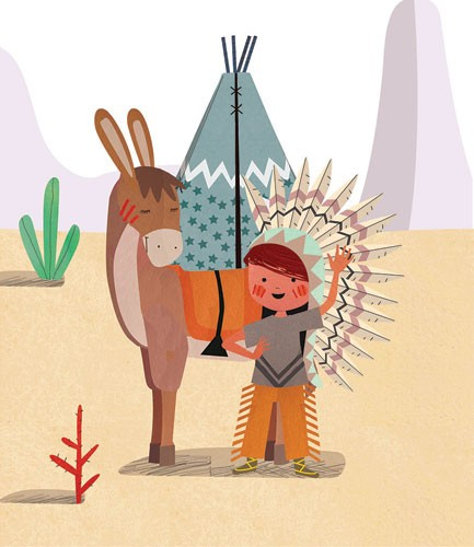 Sandra Aguilar Illustration - sandra aguilar, sandra, aguilar, digital, educational, novelty, fiction, vector, illustrator, YA, young reader, cute , sweet, donkey, animal, boy, child, figure, figurative, person, dress up, playing, play time, friends, friendship, tent, mountain, campin