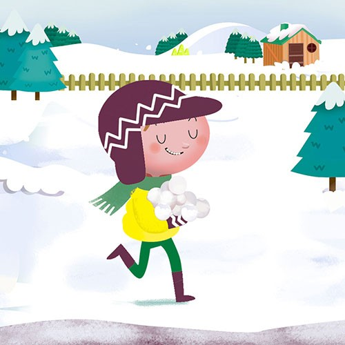Sandra Aguilar Illustration - sandra aguilar, sandra, aguilar, digital, educational, novelty, fiction, vector, illustrator, YA, young reader, boy, child, figure, character, snow, winter, coat, seasonal, festive, seasons, snowing, snowball, hat, scarf, fun, games, happy, trees, running