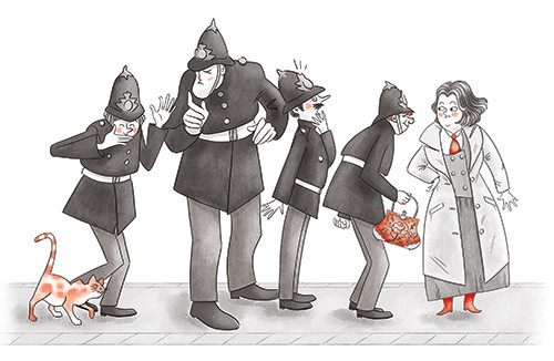 Sara Cristofori Illustration - sara cristofori, illustrator, black and white, b & w, spot colour, sketch, pencil, digital, middle grade, fiction, mystery, detective, character, woman, police, policemen, cat, pet, animal, shocked, handbag, talking, tall, short, uniforms, coat, tie, inve