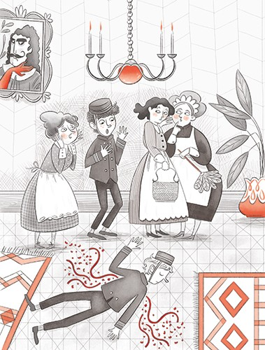 Sara Cristofori Illustration - sara cristofori, illustrator, black and white, b & w, spot colour, pencil, digital, middle grade, fiction, mystery, red, detective, characters, women, men, house, home, shock, murder, bellhop, dead, blood, hotel, lobby, shocked, maids, murder mystery, cri