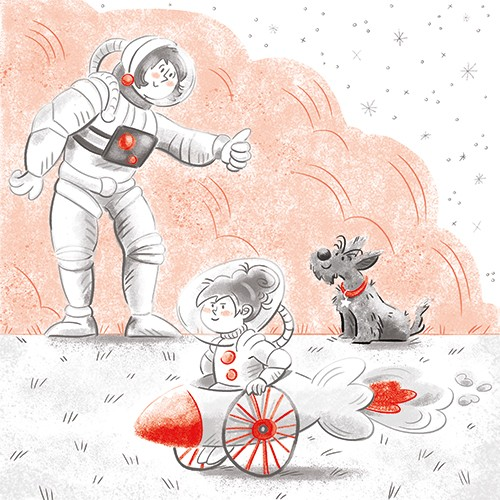 Sara Cristofori Illustration - sara cristofori, illustrator, black and white, b & w, spot colour, sketch, pencil, digital, middle grade, fiction, characters, girl, mother, mum, parent, space, astronauts, playing, make believe, game, fun, dog, spaceship, cart, stars, bush, garden, pet,