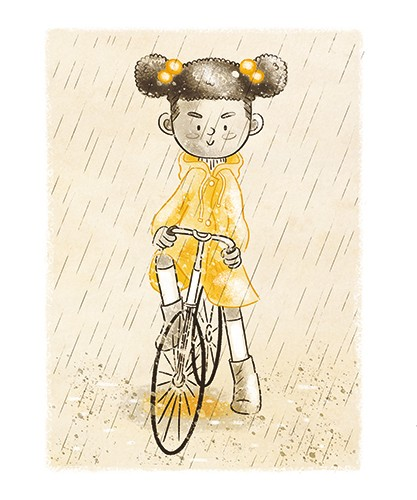 Sara Cristofori Illustration - sara cristofori, illustrator, black and white, b & w, spot colour, sketch, pencil, digital, middle grade, fiction, girl, character, person, child, kid, bike, bicycle, mac, coat, yellow, riding, sport, activity, hobby, rain, weather, water, puddle, splash,