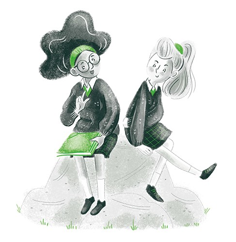 Sara Cristofori Illustration - sara cristofori, illustrator, black and white, b & w, spot colour, sketch, pencil, digital, middle grade, fiction, characters, girls, people, teenagers, children, friends, school, students, rock, chatting, laughing, books, green, hanging out, meet,