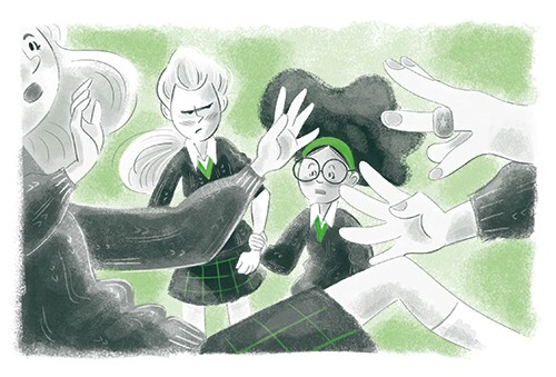Sara Cristofori Illustration - sara cristofori, illustrator, black and white, b & w, spot colour, sketch, pencil, digital, middle grade, fiction, characters, girls, people, teenagers, children, friends, school, students, bully, fight, push, fighting, scared, mean, green,