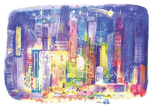 Stef Murphy Illustration - stef, murphy, stef murphy, illustrator, pencil, traditional, digital, mixed media, texture, colour, colourful, bright, lights, glow, town, city, buildings, skyscrapers, busy, cars, taxi, night, sky, stars, moon, shooting star, magic, magical, wonder
