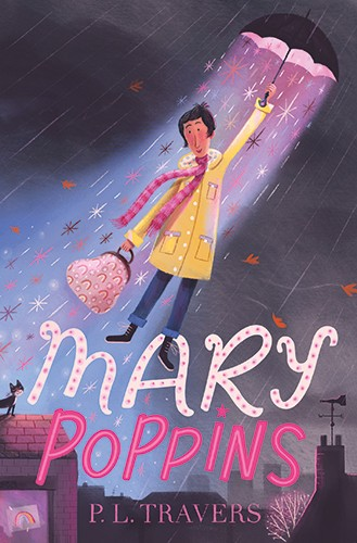 Stef Murphy Illustration - stef murphy, pencil, traditional, texture, colour, colourful, book, cover, classic, mary poppins, woman, character, person, umbrella, rain, sparkles, stars, glow, handbag, rainbow, rooftops, houses, cat, window, picture, drawing, magical, magic, weather