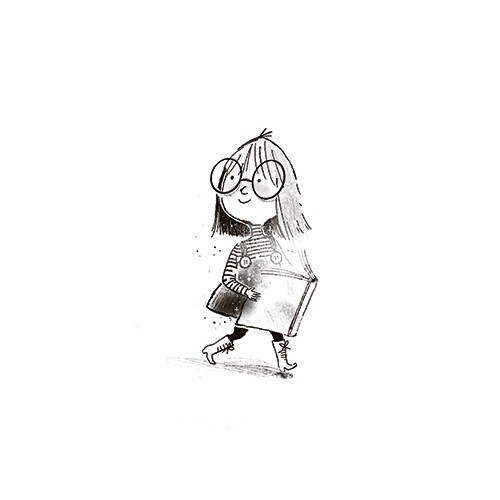 Stef Murphy Illustration - stef, murphy, stef murphy, illustrator, pencil, traditional, digital, mixed media, texture, black and white, b & w, girl, character, glasses, matilda, roald dahl, classic, book, reading, magic, glow, fantasy, imagination, magical, walking, pages,
