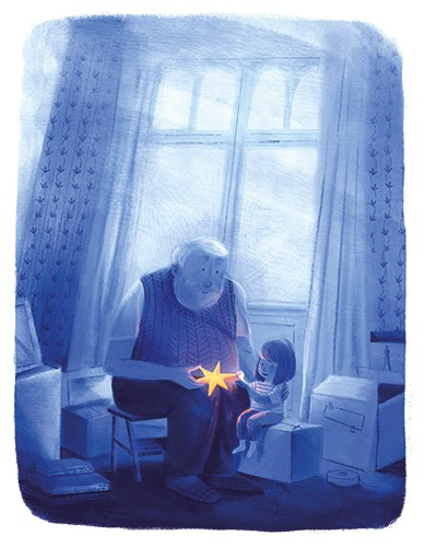 Stef Murphy Illustration - stef, murphy, stef murphy, illustrator, pencil, traditional, digital, mixed media, texture, colour, colourful, night, dark, nighttime, grandfather, child, girl, family, love, characters, star, glowing, magical, magic, bright, light, gift, present, window