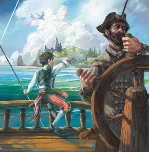 Sean Hayden Illustration - sean hayden, sean, hayden, paint, painted, digital, traditional, commercial, educational, fiction, picture books, pirates, ship, captain, steering, boat, land, island, boy
