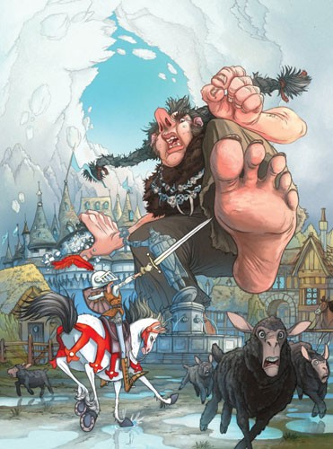 Sean Hayden Illustration - sean hayden, sean, hayden, paint, painted, digital, traditional, commercial, educational, fiction, picture books, ogre, monster, fight, battle, sword, knight, horse, feet, toes, run, town, house, city, scared,