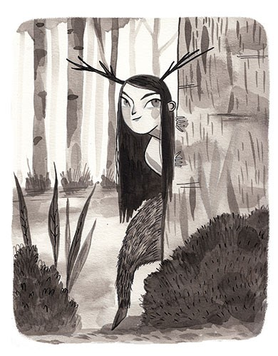 Shelly Laslo Illustration - shelly, laslo, shelly laslo, illustrator, artist, hand drawn, photoshop, digital, texture, black, and white, b&w, picture book, trade, girl, person, figure, character, magic, fantasy, trees, nature, woods, centaur, creature, animal, wild, sneaky
