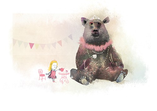 Stephen Hogtun Illustration - stephen, hogtun, stephen hogtun, drawing, paint, pen, pencil, trade, traditional, commercial, picture book, picturebook, colour, fantasy, fantasy world, animal, bear, tea, tea party, party, dress, dress up, dressing up, make believe, fun, girl, child,