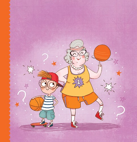 Sernur Isik Illustration - sernur, isik, illustrator, photoshop, illustrator, character, vector, picturebook, trade, YA, young reader, dinosaur, colourful, pattern, cute, grandma, granny, boy, child, family, funny, humorous, basket ball, sport, pattern