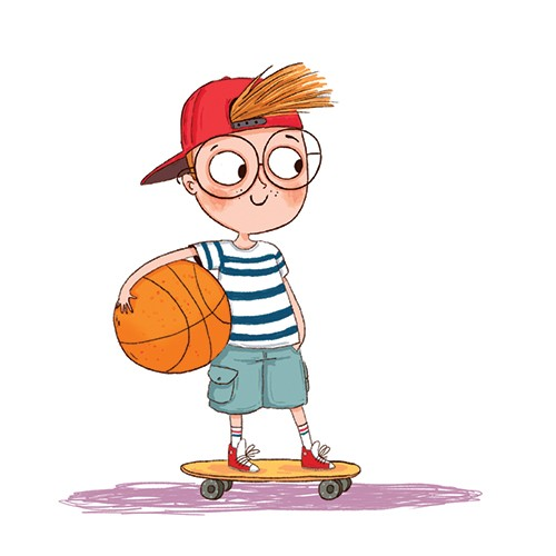Sernur Isik Illustration - sernur, isik, illustrator, photoshop, illustrator, character, vector, picturebook, trade, YA, young reader, child, boy, cute, sweet, glasses, basket ball, skateboard, colourful