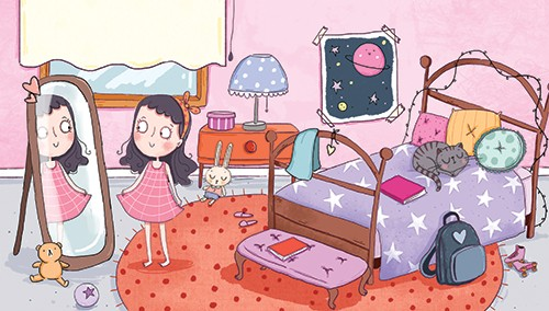 Sernur Isik Illustration - sernur, isik, illustrator, photoshop, illustrator, character, vector, picturebook, trade, YA, young reader, girl, child, bedroom, sweet, cute, pink, girly, pattern, stars, toys, teddies