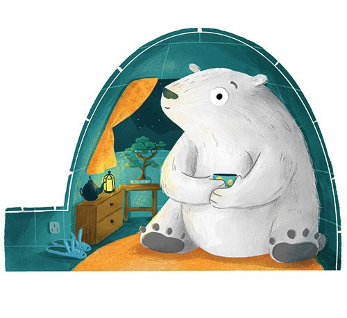 Sian Roberts Illustration - sian, roberts, sian roberts, digital, photoshop, pencil, texture, pen, drawing, colour, colourful, polar bear, animal, wild, igloo, house, home, cold, arctic, antarctic, tea, mug, drink, window, curtains, tree, plant, table, cozy, cosy