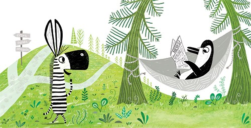 Sara Sanchez Illustration - sara sanchez, traditional, painting, painted, watercolour, digital, acrylic, trade, commercial, picture book, cute, sweet, spread, zebra, penguin, reading, hammock, plants, grass, forest, trees, newspaper, sign, funny,