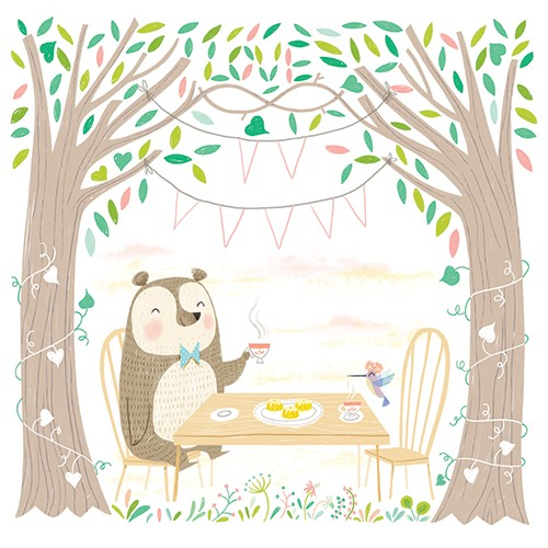 Sara Sanchez Illustration - sara sanchez, traditional, painting, painted, watercolour, digital, acrylic, trade, commercial, picture book, cute, sweet, bear, tea, party, woods, forest, puffin, bird, wildlife, trees, heres, turtle, tortoise, balloons, sun, squirrel, rabbit, happy, fun, summer, celebration, birthday,