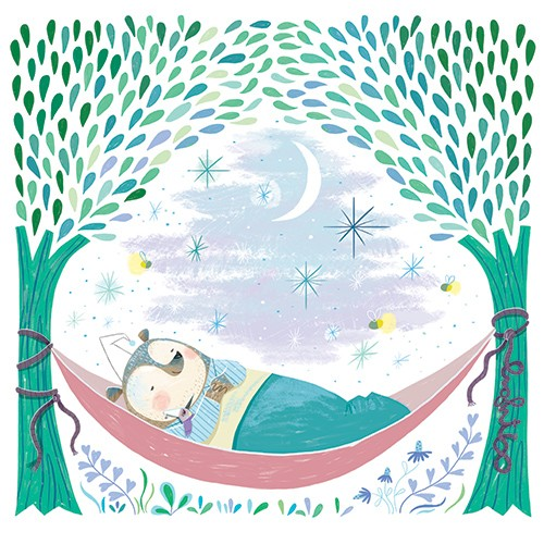 Sara Sanchez Illustration - sara sanchez, traditional, painting, painted, watercolour, digital, acrylic, trade, commercial, picture book, cute, sweet, bear, bed, sleeping, hammock, trees, snooze, nap, blanket, pyjamas, soon, stars, night, sky,