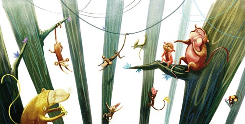 Sara Sanchez Illustration - sara sanchez, traditional, painting, painted, watercolour, acrylic, trade, commercial, picture book, animals, monkeys