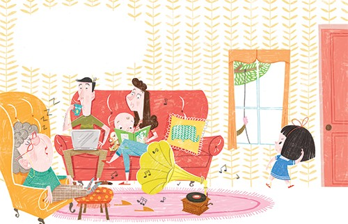 Sara Sanchez Illustration - sara sanchez, sara, sanchez, digital, texture, photoshop, illustrator, trade, commercial, mass market, picture book, girl, home, family, mum, dad, gran, wall paper, pattern, reading, music, baby, laptop