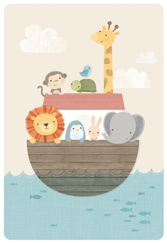 Sarah Ward Illustration - greetings cards, sarah ward, sarah, ward, novelty, picture book, digital, young, sweet, commercial, educational, activity, animals, noah's ark, lions, monkeys, penguins, giraffes, rabbits, bunnies, bunny, elephants, tortoises, turtles, birds, boats, noah,