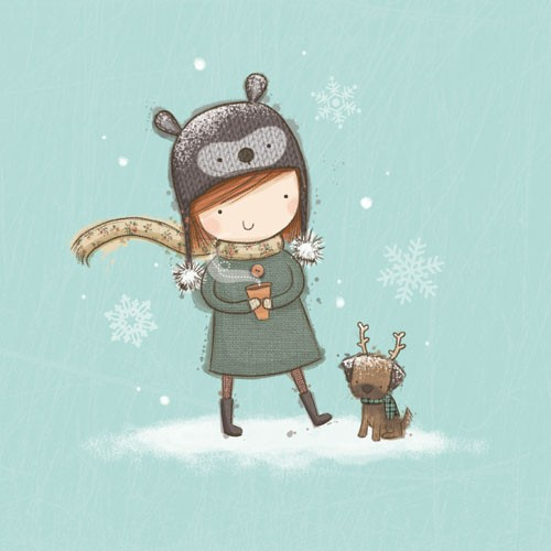 Sarah Ward Illustration - sarah ward, sarah, ward, novelty, picture book, digital, young, sweet, commercial, educational, activity, people, collage, girls, winter, snow, snowing, animals, dogs, puppy, puppies