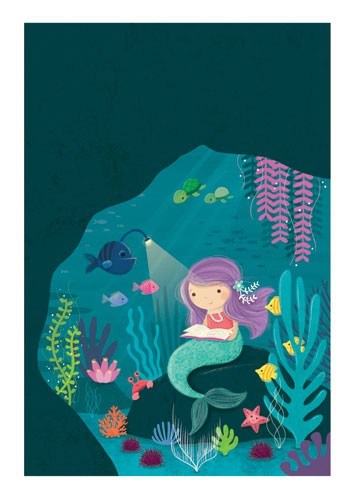 Sarah Ward Illustration - greetings cards, sarah ward, sarah, ward, novelty, picture book, digital, young, sweet, commercial, educational, activity, cute, YA, young reader, colourful, mermaid, underwater, water, sea, ocean, fish, animals, turtles, tortoise, cave, reading