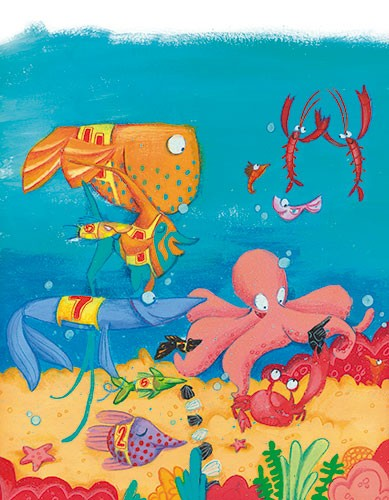 Tamara Anegon Illustration - tamara, anegon, tamara anegon, trade, commercial, picture book, board book, painted, hand drawn, traditional, acrylic, painterly, colour, young reader, colourful, animals, sea, ocean, water, underwater, fish, race, seaweed, coral, friends, race, swimming,