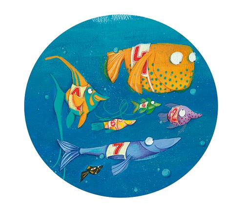 Tamara Anegon Illustration - tamara, anegon, tamara anegon, trade, commercial, picture book, board book, painted, hand drawn, traditional, acrylic, painterly, colour, young reader, colourful, animals, sea, ocean, water, underwater, fish, race, bubbles, friends, race, swimming,