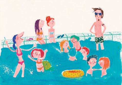 Tamara Anegon Illustration - tamara, anegon, tamara anegon, trade, commercial, picture book, painted, hand drawn, colour, digital, pencils, fiction, editorial, people, person, girls, boys, men, man, males, woman, women, lady, ladies, child, kids, children, swimming pools, swimming ba