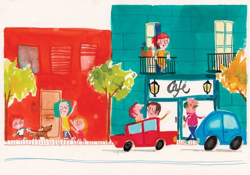 Tamara Anegon Illustration - tamara, anegon, tamara anegon, trade, commercial, picture book, painted, hand drawn, colour, digital, pencils, fiction, editorial, street, road, cars, dogs, pets, puppy, puppies, mums, parents, lady, man, people, person, child, children, kids, cafes, balc