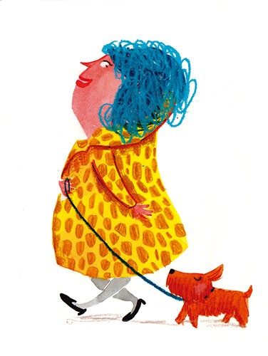 Tamara Anegon Illustration - tamara, anegon, tamara anegon, trade, commercial, picture book, painted, hand drawn, colour, digital, pencils, fiction, editorial, lady, person, people, female, ladies, walking, pooch, dogs, puppy, puppies,