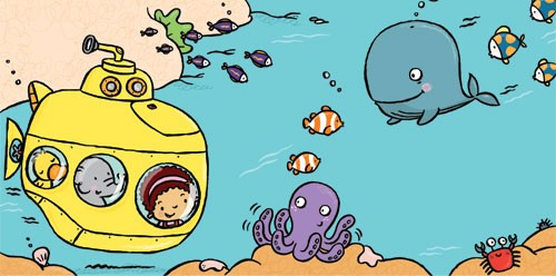 Tania Hurt-Newton Illustration - tania hurt newton, tania hurt-newton, tania, hurt newton, digital, young, commercial, educational, novelty, board, people, children, child, submarine, sea, ocean, under water, fish, coral, sub, sophie, girl, fwhale, octopus, sea weed, rocks