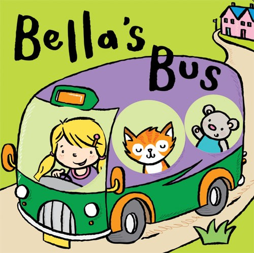 Tania Hurt-Newton Illustration - tania hurt newton, tania hurt-newton, tania, hurt newton, digital, young, commercial, educational, novelty, board, people, children, child, bella, bella's bus, cover, bus,  cat, bear, grass