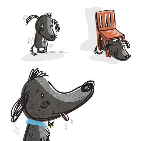 Tania Hurt-Newton Illustration - tania hurt newton, tania hurt-newton, digital, young, commercial, educational, novelty, board, animals, dog, bobby, bobby the brave, cover, chair, hiding, scared, cute, sweet, young
