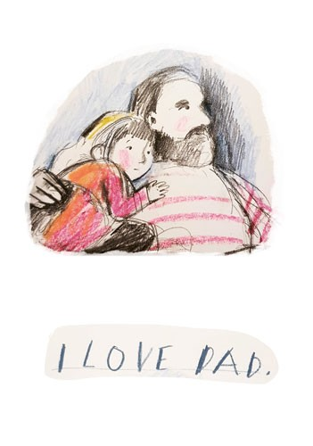 Tanja Stephani Illustration - tanja, stephani, tanja stephani, trade, commercial, picture book, painted, hand drawn, traditional, pencil, texture, colour, colourful, father, daughter, family, hug, sweet, dad, love, family,