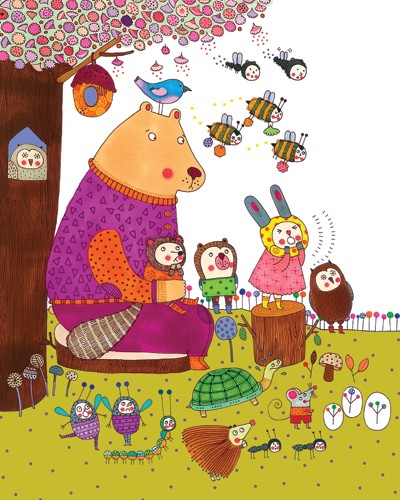 Valeria Valenza Illustration - valeria, valenza, valeria valenza, paint, painted, traditional, decoration, decorative, trade, sophisticated, picture book, picture book, animals, rabbits, bear, bird, owl, mouse, hedgehog, turtle, bees, tree, friends, friendship