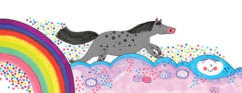 Valeria Valenza Illustration - valeria, valenza, valeria valenza, paint, painted, traditional, decoration, decorative, trade, sophisticated, picture book, picture book, YA, young reader, quirky, horse, rainbow, pattern, clouds
