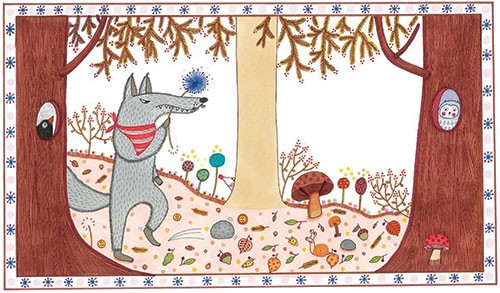 Valeria Valenza Illustration - valeria, valenza, valeria valenza, paint, painted, traditional, decoration, decorative, trade, sophisticated, picture book, wolf, woods, forest, mushroom, trees, leaves, owl, bird, autumn