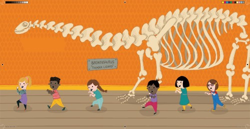 Will Bonner Illustration - will bonner, commercial, trade, educational, fiction, editorial, advertising, greetings cards, stationary, surface pattern design, picture book, painted, textured, photoshop, museum, dinosaur, skeleton, boys, girls, children, fun,