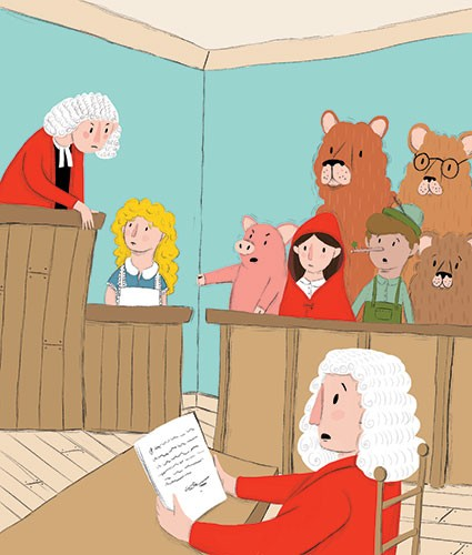 Will Bonner Illustration - will bonner, commercial, trade, educational, fiction, editorial, advertising, greetings cards, stationary, surface pattern design, picture book, painted, textured, photoshop, fairytale, courtroom, court, judge, bears, pigs, goldilocks, hurt, pinocchio, re