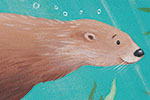 Lucy Boden Illustration - ucy, boden, lucy boden, novelty, mass market, commercial, acrylic, painted, picture book, fiction, animals, otter, swimming, river, sea, water, bubbles, seaweed