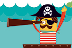 Neil Clark Illustration - neil, clark, neil clark, digital, photoshop, illustrator, picture book, young reader, mass market, young, board, characters, pirates, sea, ocean, water, waves, boat, sails, skull & crossbones, sun, whale, animals, captain,