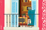 Patricia Hu Illustration - patricia, hu, patricia hu, illustration, digital, pencil, photoshop, colourful, trade, commercial, mass market, picture book, town, city, buildings, balcony, apartments, flats, windows, doors, shutters, plants, flowers, armchair, chair, floral, home