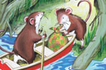 Peter Wilks Illustration - peter, wilks, peter wilks, paint, painted, watercolour, water colour, traditional, commercial, educational, picture book, picturebook, fiction, acrylic, colour, colourful, YA, young reader, pond, water, river, lake, mouse, animals, mice, boat, insect, dra