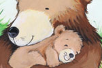 Peter Wilks Illustration - peter, wilks, peter wilks, paint, painted, watercolour, water colour, traditional, commercial, educational, picture book, picturebook, fiction, acrylic, colour, colourful, YA, young reader, bear, animals, baby bear, cub, hedgehog, rabbit, bunny, forest, t