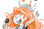 Sara Cristofori Illustration - sara cristofori, illustrator, black and white, b & w, spot colour, sketch, pencil, digital, middle grade, fiction, characters, vikings, girl, mother, mum, parent, karaoke, singing, microphone, seagull, bird, funny, sweet, adventure, fun, happy, activity,